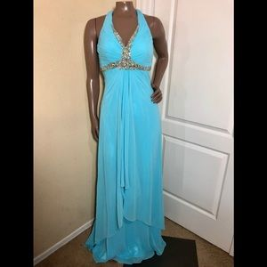 Faviana Beaded Halter High Low Chiffon Long Gown